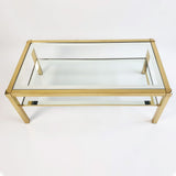 Classic 1970s brass and glass coffee table