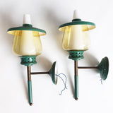 1960s glass and brass wall lamp