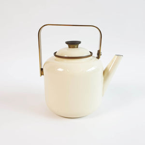 Vintage enamel and brass teapot