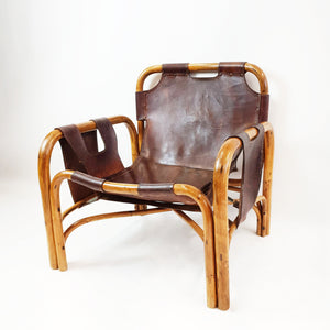 Vintage leather and bamboo armchair by Tito Agnoli