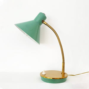 Small vintage green table lamp with brass details