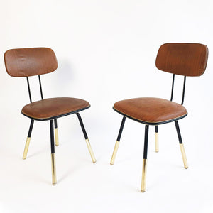 Mid-century Italian chairs with brass leg detail