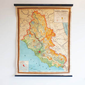Vintage map of Lazio and Umbria in Italy