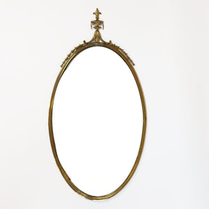 Oval vintage brass framed mirror (5725202940066)