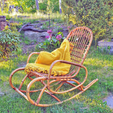 1970s Italian rattan and bamboo rocking chair