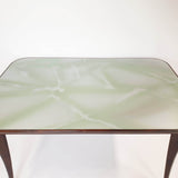 Italian vintage table with green glass top