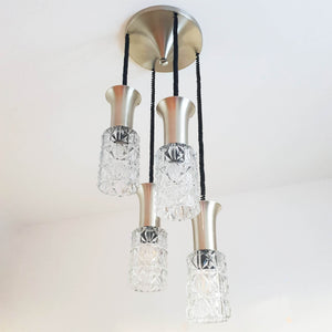 Vintage glass and metal cascading chandelier