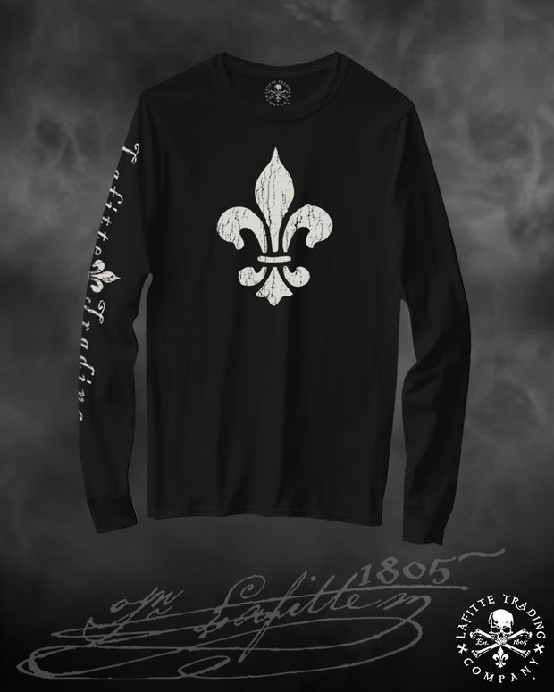 Women's Long Sleeve T Shirt Jean Lafitte ~ Fleur de Lis'