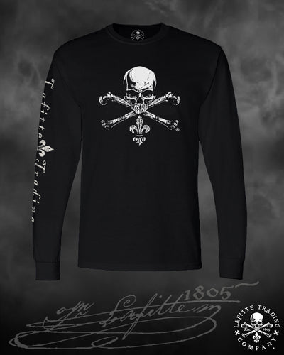 Men's Long Sleeve T Shirt - Jean Lafitte ~ Jolly Roger