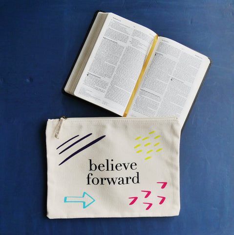 believe forward zip pouch with bible