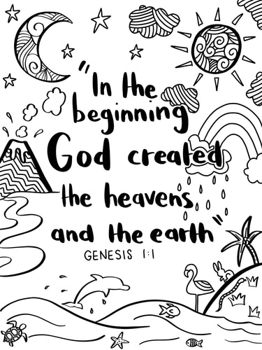 Colouring Page Genesis 1:1