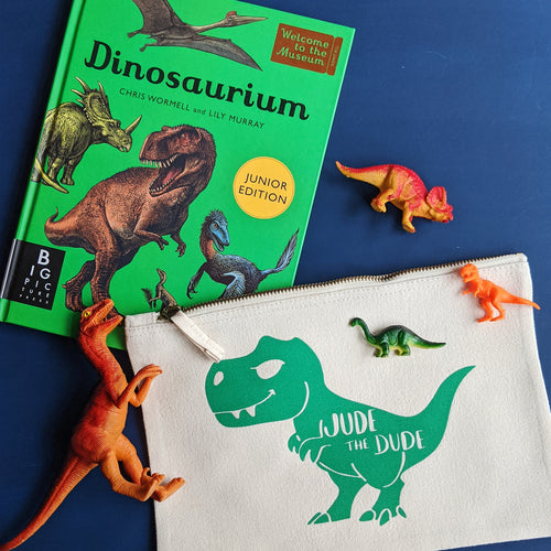 Personalised T-Rex Dinosaur Zip Pouch
