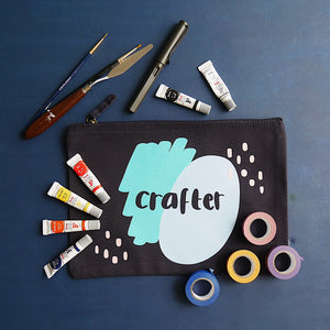 Grizzli Bear Crafter zip pouch, large enough for pens, paint, washi tape and paintbrushes, which are shown in the photo