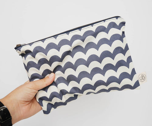 Blue and Cream Waves Pouch