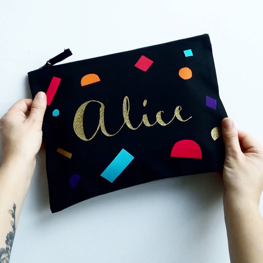 Block Shapes Name Zip Pouch