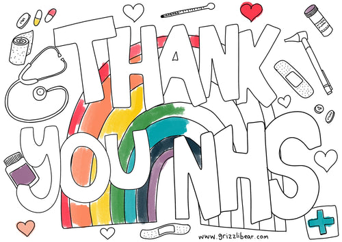 Colouring Page Thank You NHS
