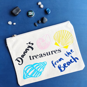 Beach Treasures Custom Pouch - Grizzli Bear