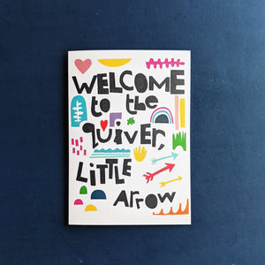 Welcome to the Quiver Block Colours New Baby Card - Grizzli Bear