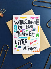 Load image into Gallery viewer, Welcome to the Quiver Block Colours New Baby Card - Grizzli Bear