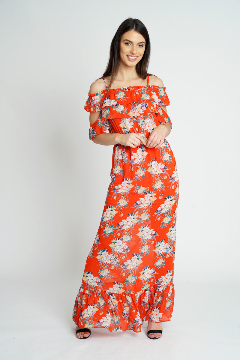 Red Floral Chiffon Cold Shoulder Maxi Dress