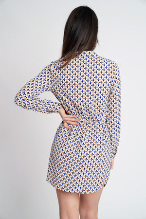 Geo Print Wrap Shirt Dress