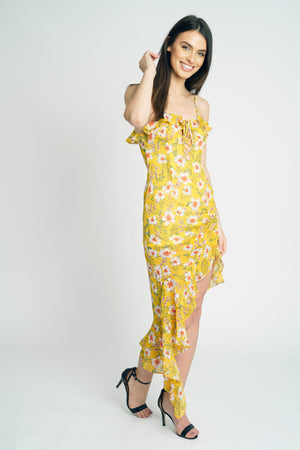 Yellow Floral Chiffon Strappy Midi Dress