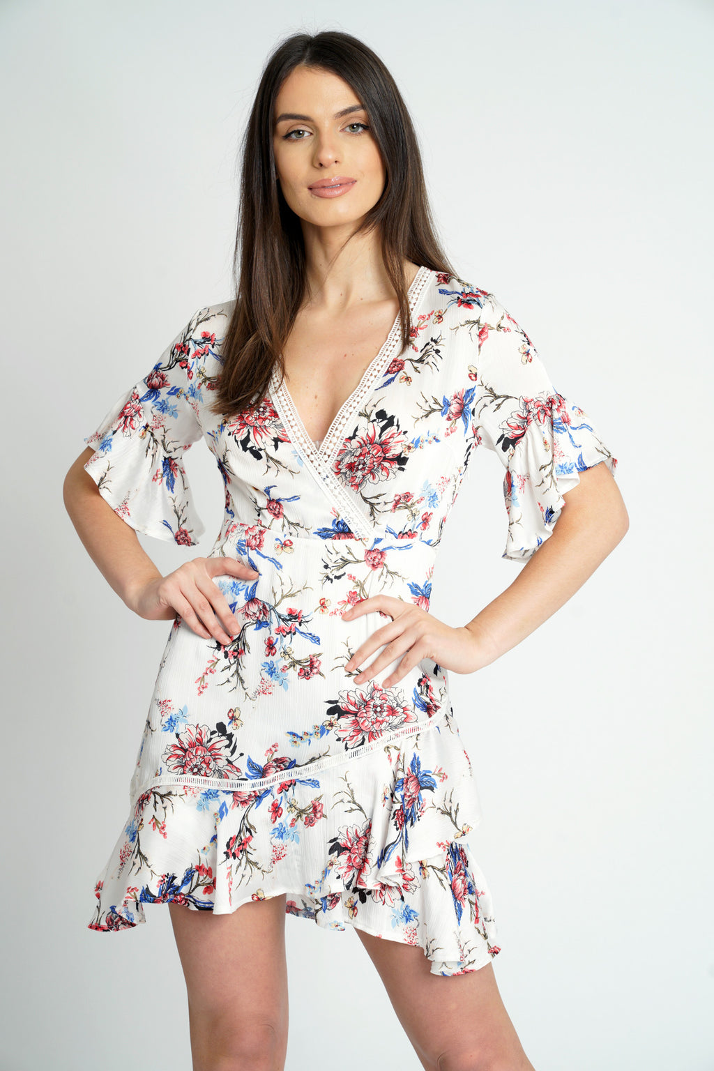 Wrap Ruffle Floral Satin Dress