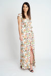 Tropical Print Wrap Maxi Dress