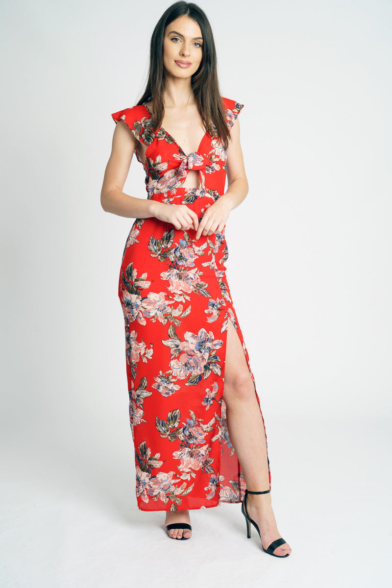Red Floral Tie Front Slip Maxi Dress