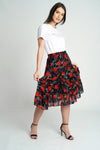 Chiffon Ruffle Midi Skirt in Black/Red Floral