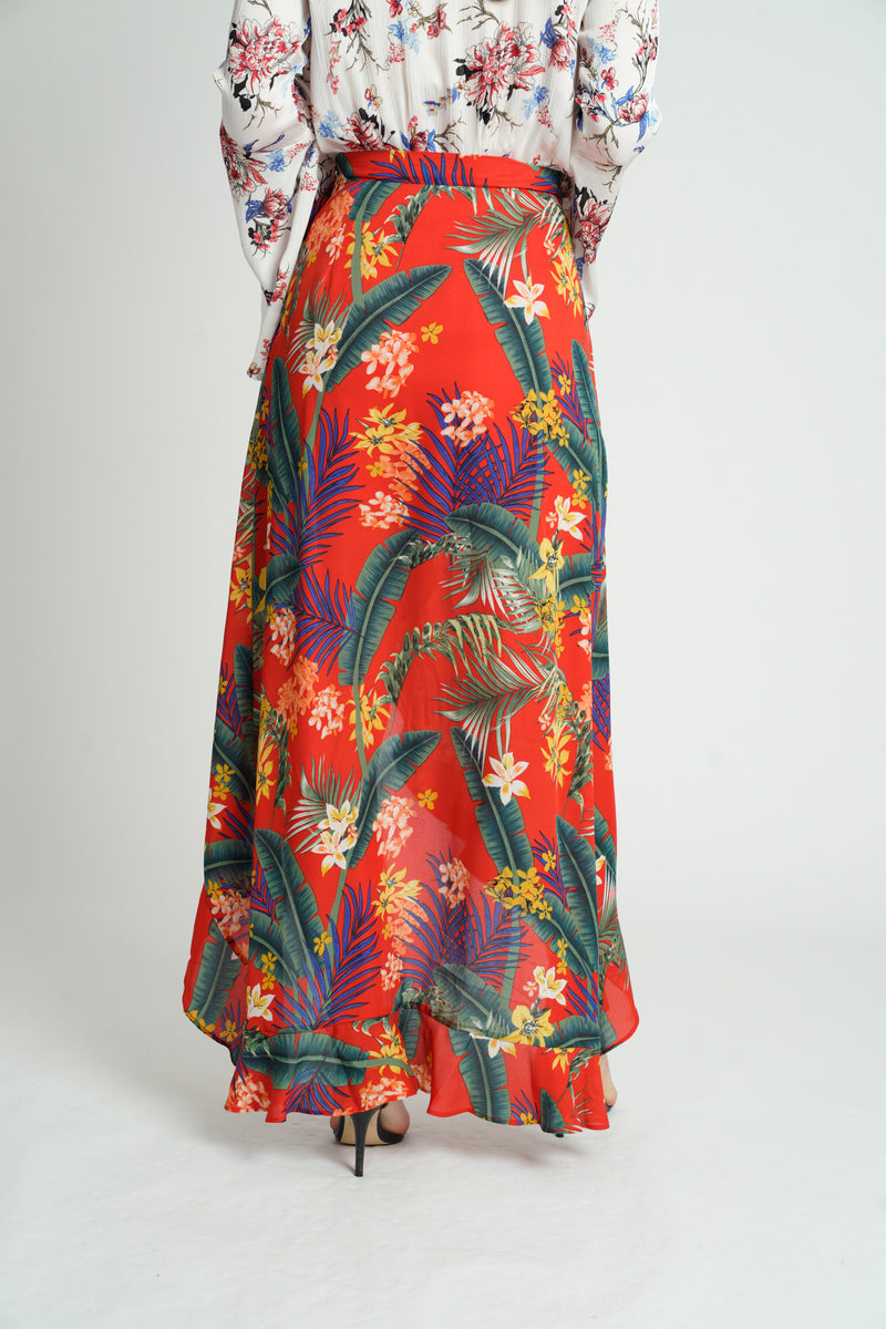 Red Tropical Chiffon Ruffle Wrap Maxi Skirt