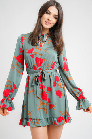 Floral Chiffon Ruched Long Sleeves Skater Shirt Dress