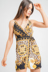 Scarf Print Wrap Cami Dress