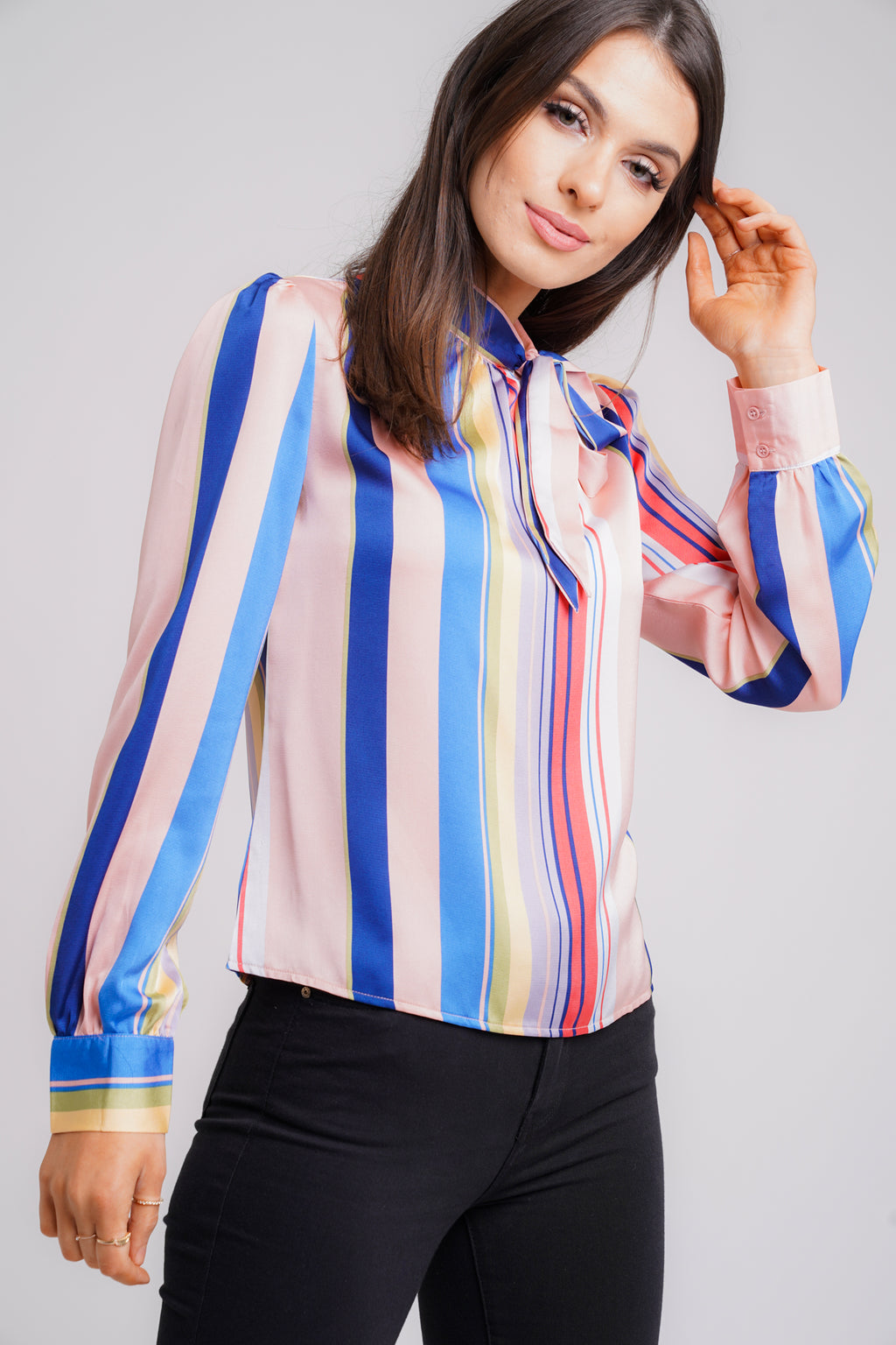 Multi Stripe Pussy Bow Blouse