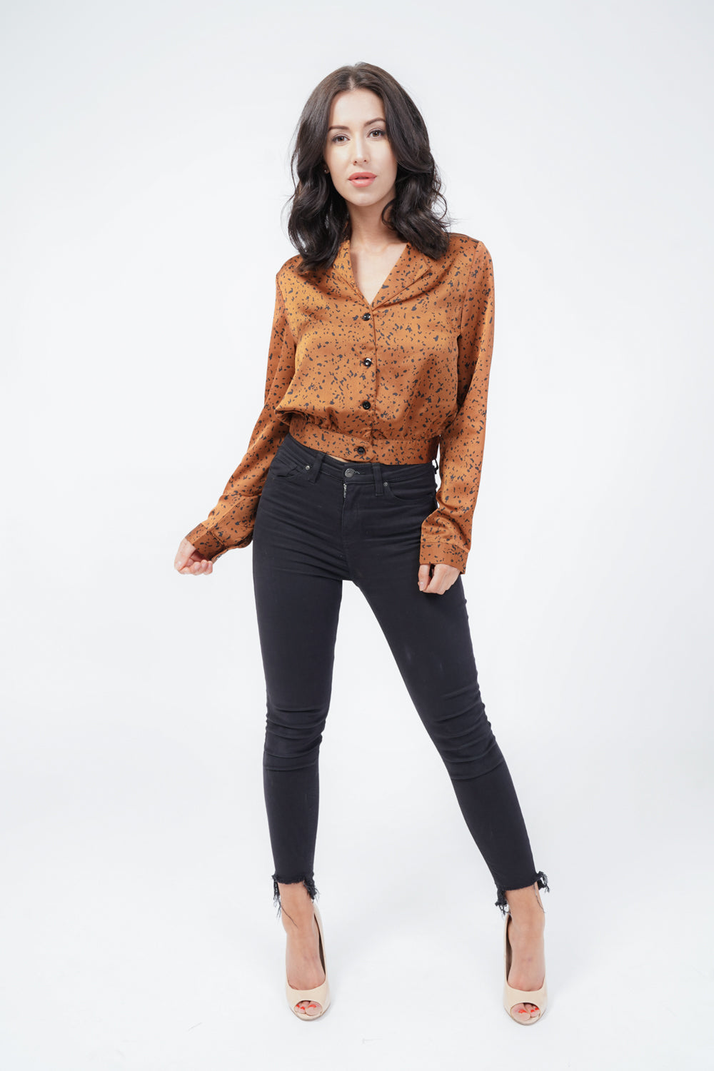 Rust Dalmatian Print Satin Crop Shirt