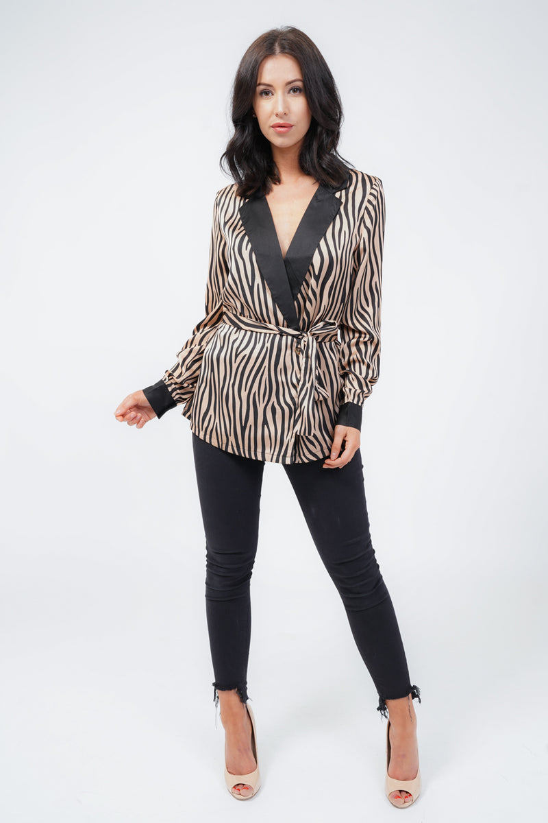 Brown Zebra Belt Satin Blazer