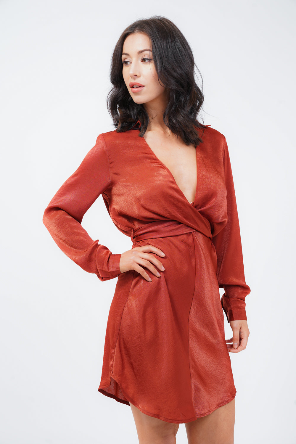 Rust Satin Wrap Shirt Dress