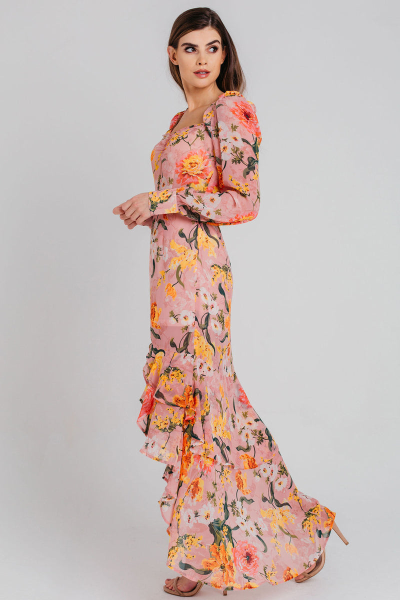 Pink Floral Chiffon Sweetheart Maxi Dress