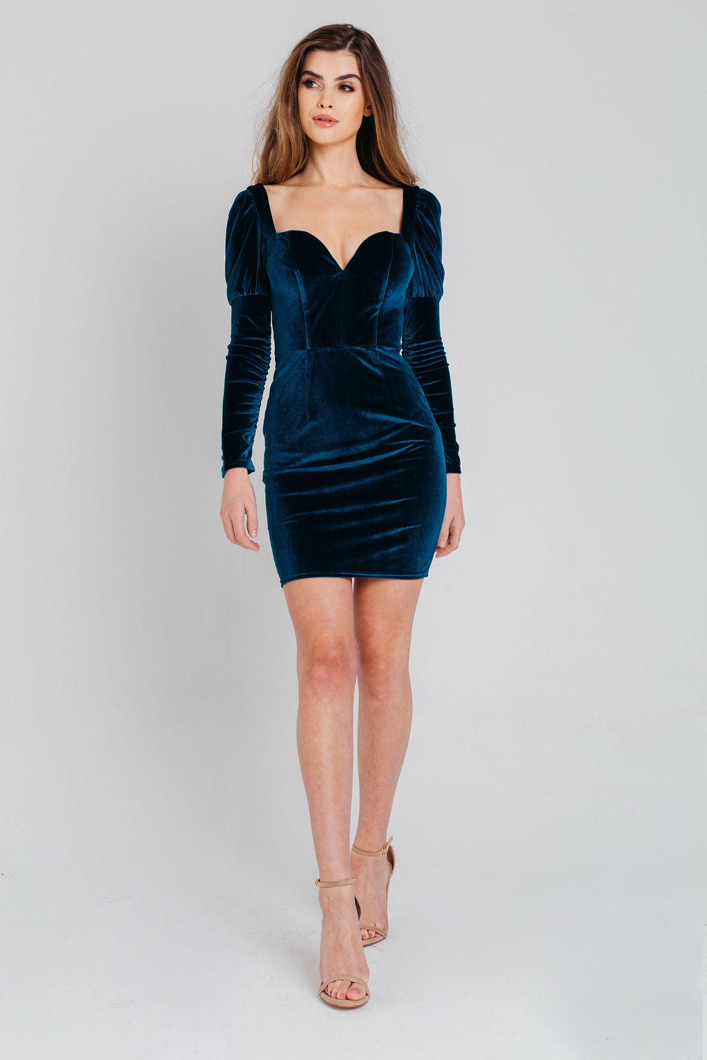 Blue Sweetheart Neck Velvet Bodycon Dress