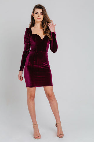 Burgundy Velvet Cowl Neck Dress