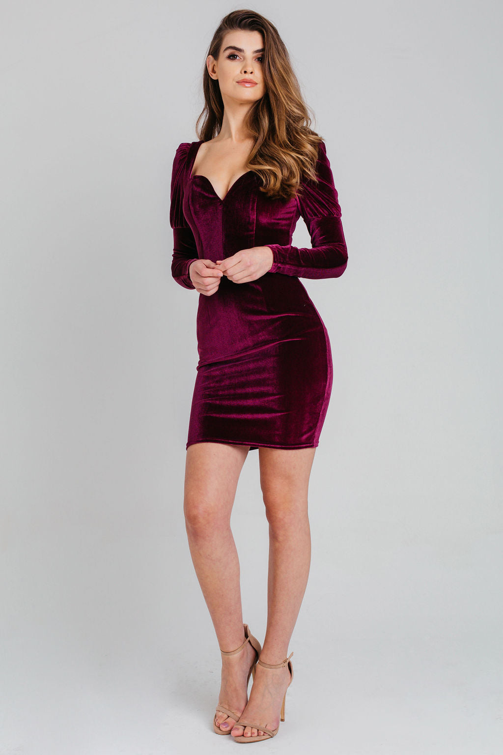 Plum Sweetheart Velvet Bodycon Dress