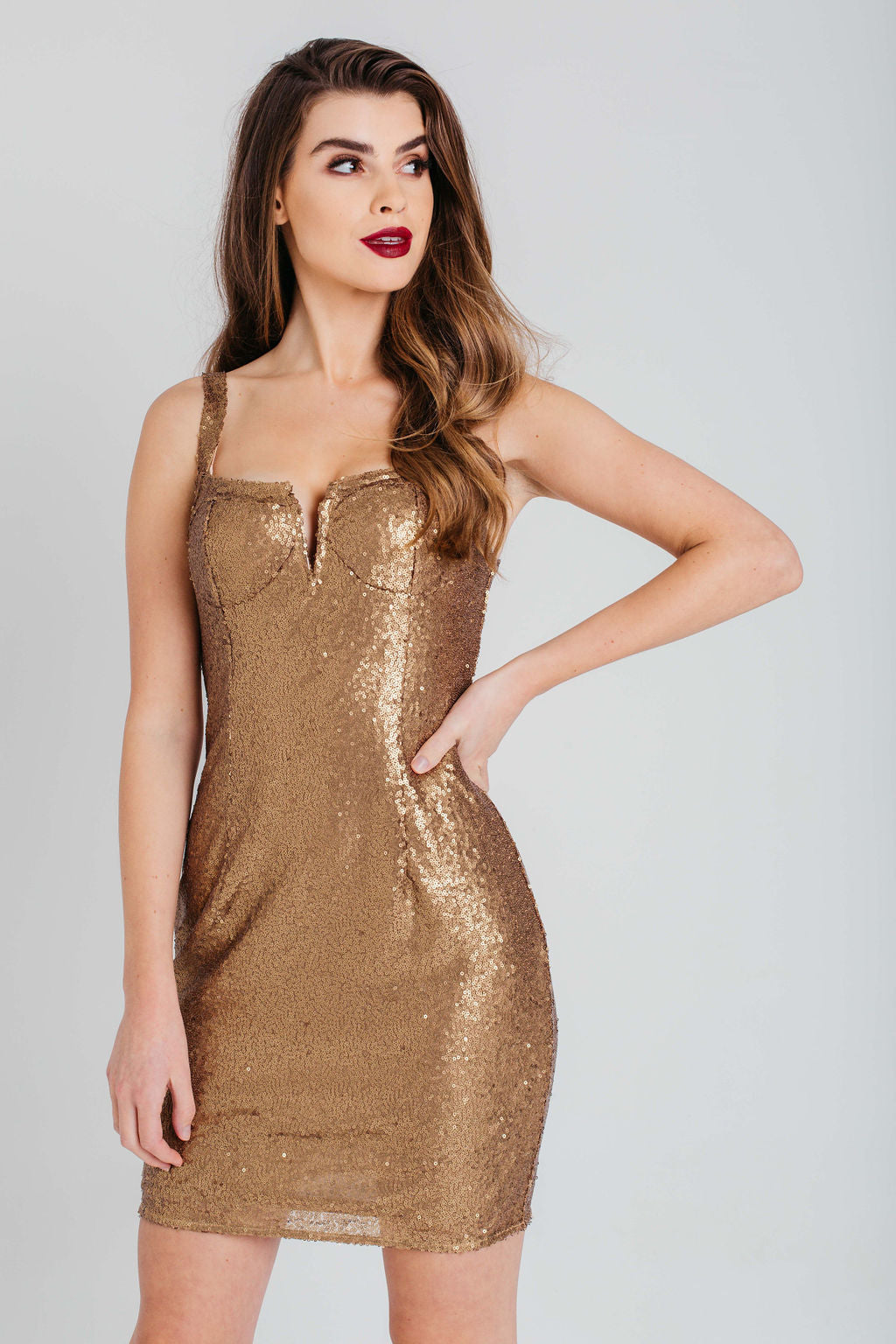 Gold Sequin Cup Detail Strappy Bodycon Dress