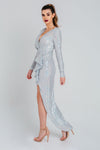 Ice White Sequin Wrap Peak Shoulder Maxi Dress