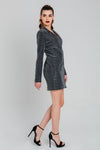 Silver Sparkly Shoulder Pad Blazer Dress