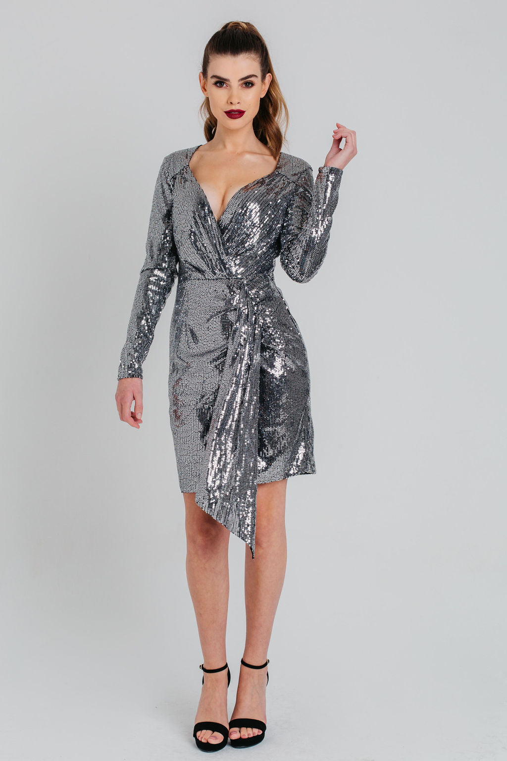 Silver Sequins Wrap Long Sleeved Dress