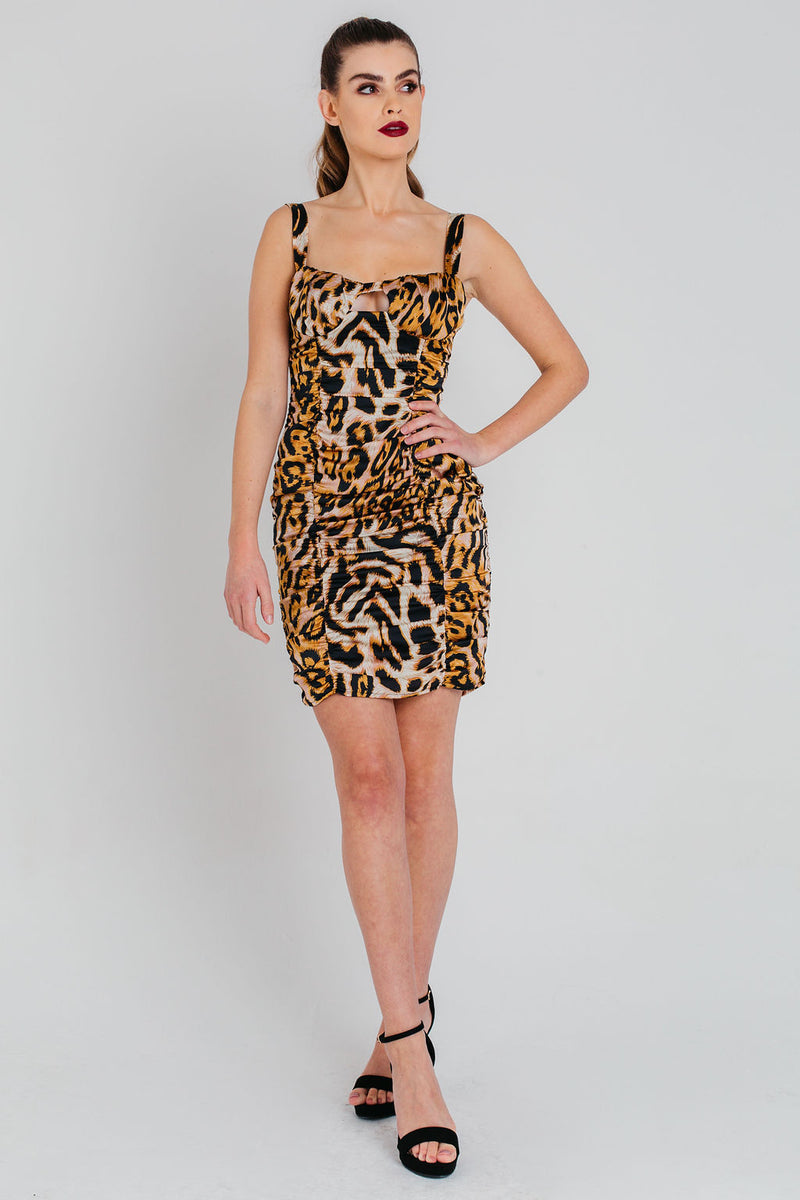 Leopard Print Ruched Strappy Bodycon Dress