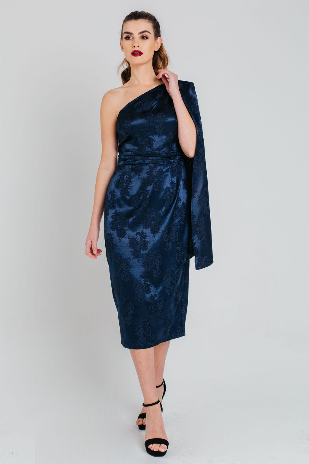 Navy Cape Sleeve Jacquard Satin Midi Dress