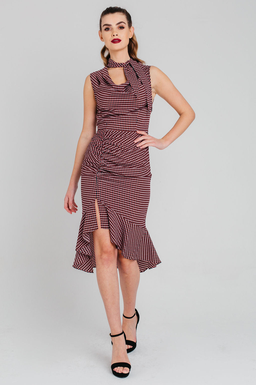 Houndstooth Ruched Cowl Neck Midi Dress