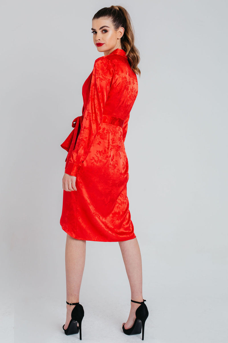 Red Jacquard Satin Wrap Dress