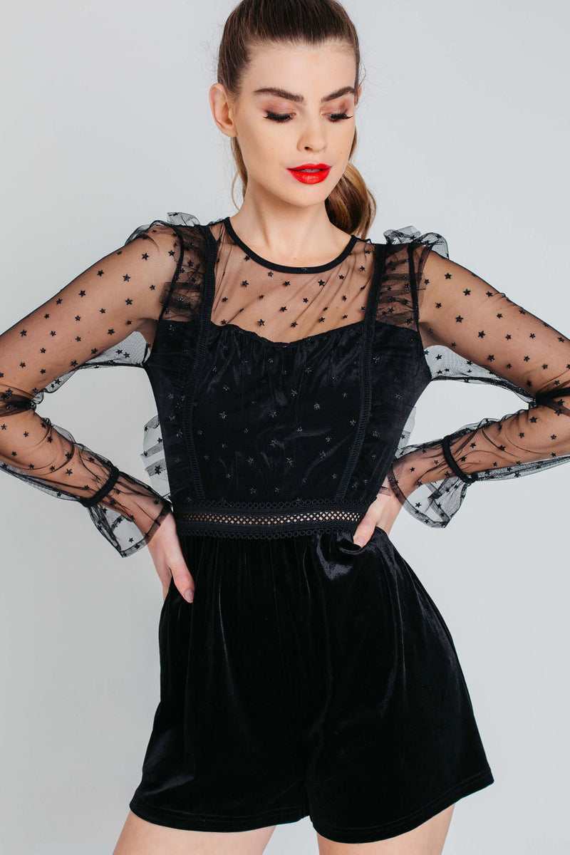 Black Velvet with Sheer Stars Ruffle Playsuit